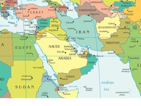 Map of Middle East and Central Asia