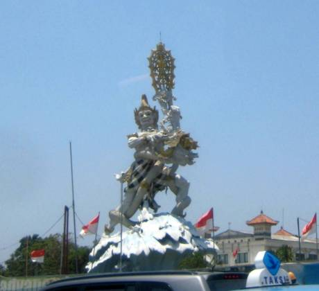 A famous statute near the airport in Bali.