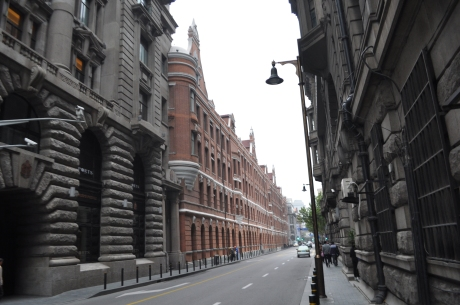 This area located near the former British Embassy is being developed as an up-scale shopping and business district. The Peninsula Shanghai is near by.