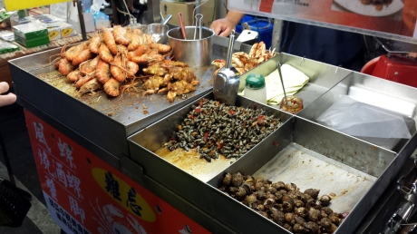 Deep fried shrimps and river snares; smaller in size than escargot.