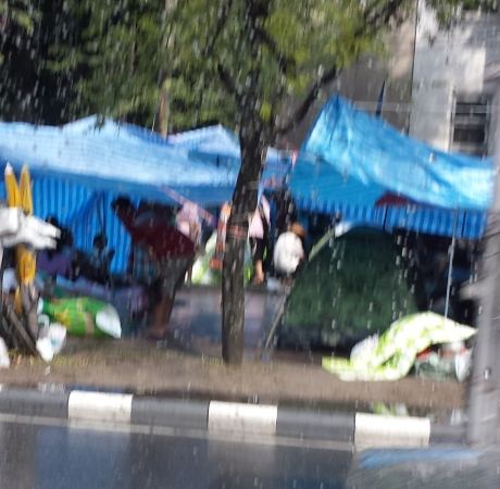 These people came from villages outside of Bangkok. They have camped here for months and the government hasn't resolved their issues yet.