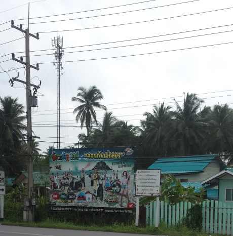 You probably can see it from this picture but the power posts are squire in shape; not round. It prevents snakes to climb up to the posts. Cell phone tower is in the view too. The ad is for a seaside resort south of Bangkok.