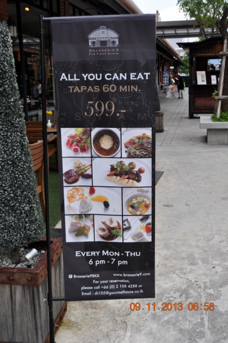 From 6 pm to 7 pm, Monday to Thursday you could eat as much as you could for 599 Baht: about $20 US.