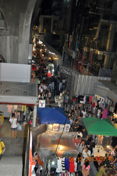 Night market along a major street in downtown Bangkok.
