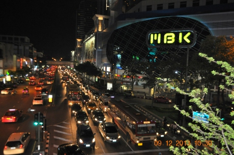 MBK is one of many Bangkok's legendary shopping malls. All malls were packed with tourists and locals alike. Many of them located at subway stations. very convenient to hop around. The tressts were packed with cars day and night non-stopped.