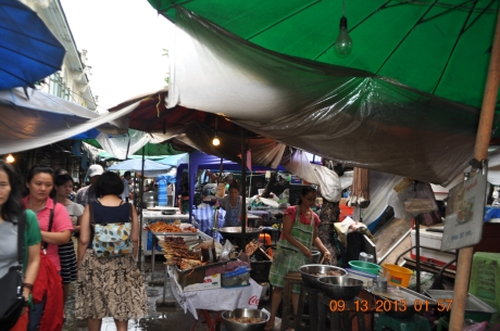 Open market at the pier near the Palace.