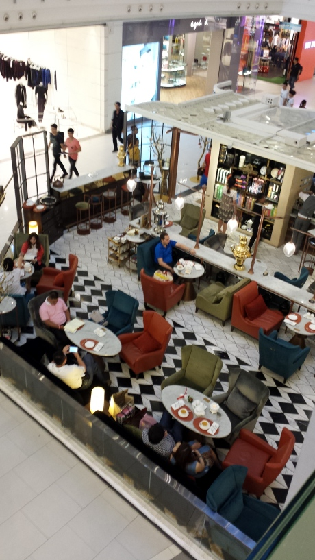 A coffee shop on the first floor.