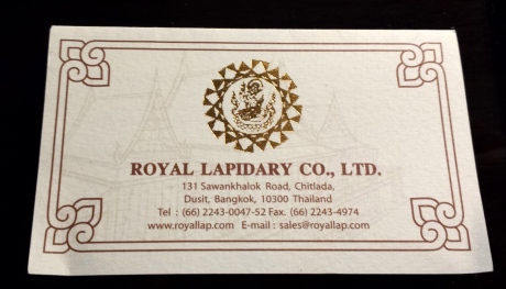 Royal Lapidary business card.