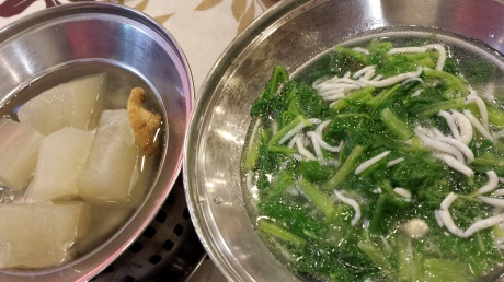 Winter melon and silver fish with spinash.