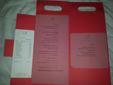 Our bill, main menu and dessert menu