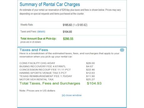 rental car fees, taxes and surcharges