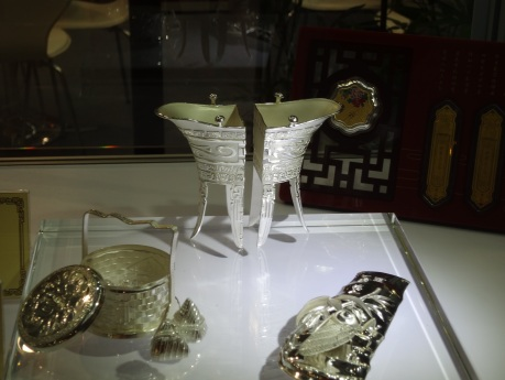 Hand made silverware based on treasure on display in the Royal Palace Museum.