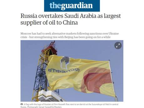 2015-06-24   Russia overtakes Saudi Arabia as largest supplier of oil to China