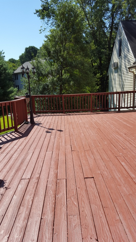 Home Depot's BEHR  solid color wood stain - color: Cappuccino; 5 gallons; $166.