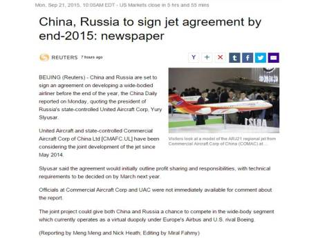 Joint development by China and Russia in wide-body aircraft.