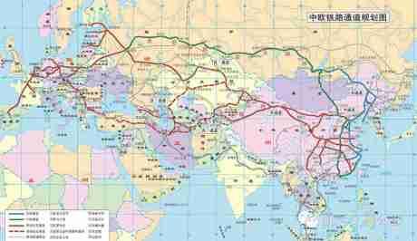 中歐鐵路通道計劃圖。